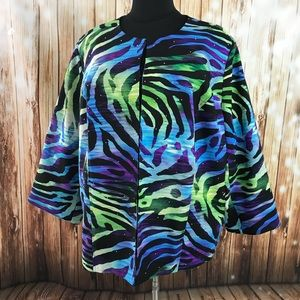 Purple Blue Zebra Jacket Blazer 3X 26/28